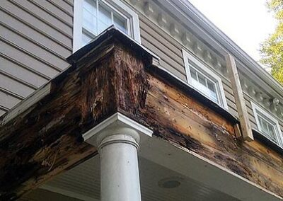 Front Porch Wood Rot Caused by Leaky Roof